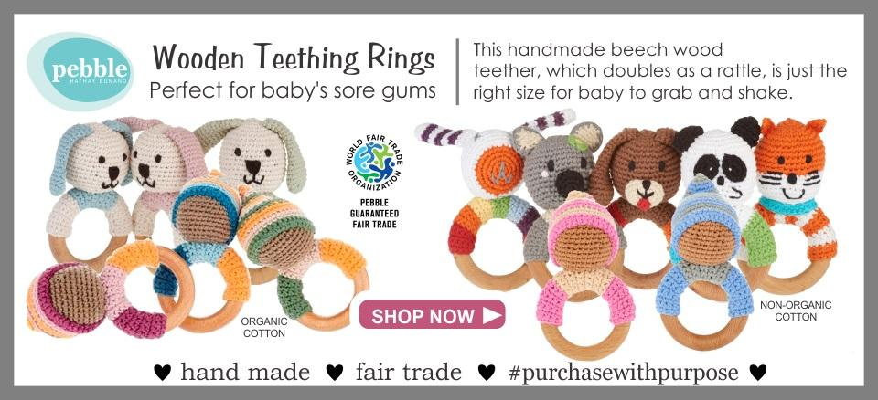 Wooden Teething Ring Rattles from Pebble